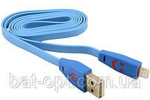 Кабель USB - Micro плоский светящийся штекер 8 мм (голубой)