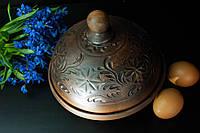 Блинница из красной глины декор