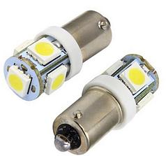 Светодиодная лампа T11 BA9S 5050 5 SMD LED 6000К T4W 3886X H6W 363 12В 0,5W