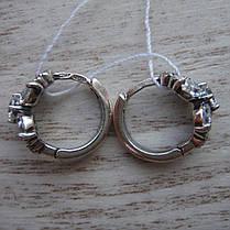 Миниатюрные серебряные серьги со вставками из прозрачного фианита, фото 3