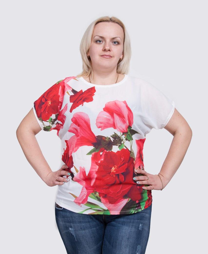 Летняя футболка больших размеров Цветы, фото 1