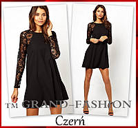 """Платье """"Lace-Реглан"""" цвет черный"""