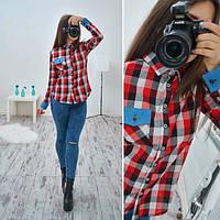 Рубашка стильная в клетку c джинсовыми вставками SRB51