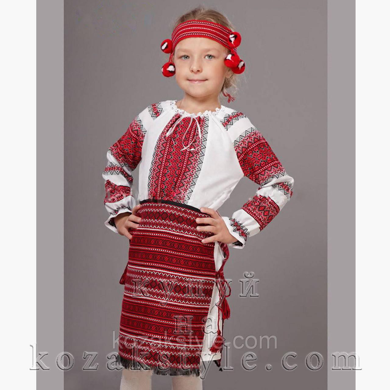 Український костюм з 3-х предметів на дівчинку 5-12 років