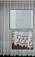 Тюль в гостиную с кружевом льняная