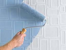 Окраска стен по обоям