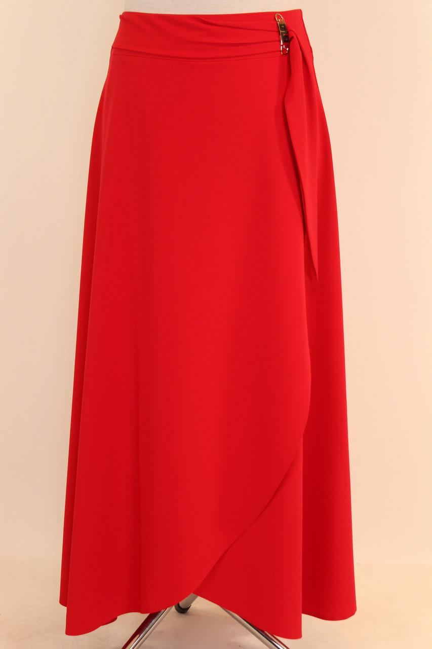 Длинная красная юбка с запахом 44-52 р