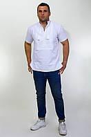 Вышитая мужская рубашка белая по белому лен