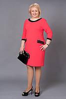 Классическое женское платье кораллового цвета