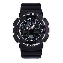 Спортивные мужские наручные часы годинник Casio G-Shock ga-100 Black-White Касио черно-белые реплика, фото 2