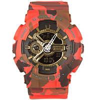 Распродажа! Камуфляжные спортивные часы Casio G-shock GA-110 Camouflage Red-Gold