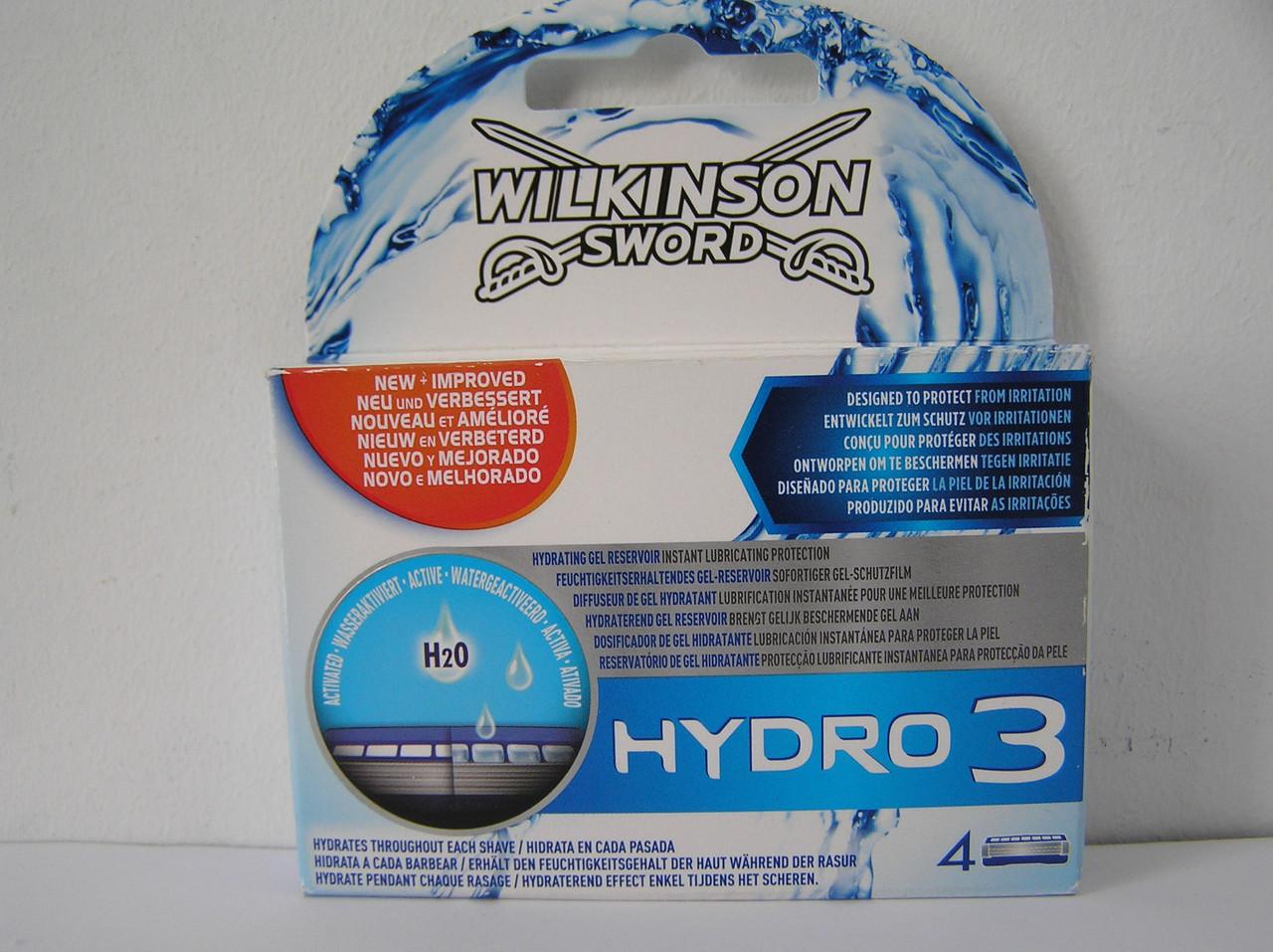 Кассеты для бритья мужские Schick Wilkinson Sword  Hydro 3 (Шик гидро 3) 4 шт.