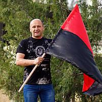 Флаг красно-черный атласный,  купити прапор України