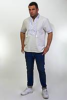 Мужская вышиванка на сером лене на короткий рукав