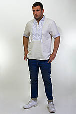 Чоловіча вишиванка на сірому льоні на короткий рукав, фото 2