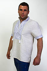 Мужская вышиванка на сером лене на короткий рукав , фото 3