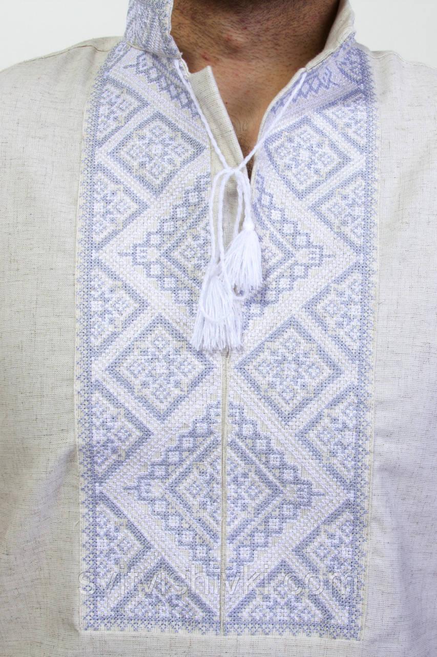 Чоловіча вишиванка на сірому льоні на короткий рукав