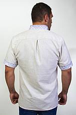 Чоловіча вишиванка на сірому льоні на короткий рукав, фото 3
