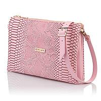 Розовая сумочка-клатч имитация кожи змеи