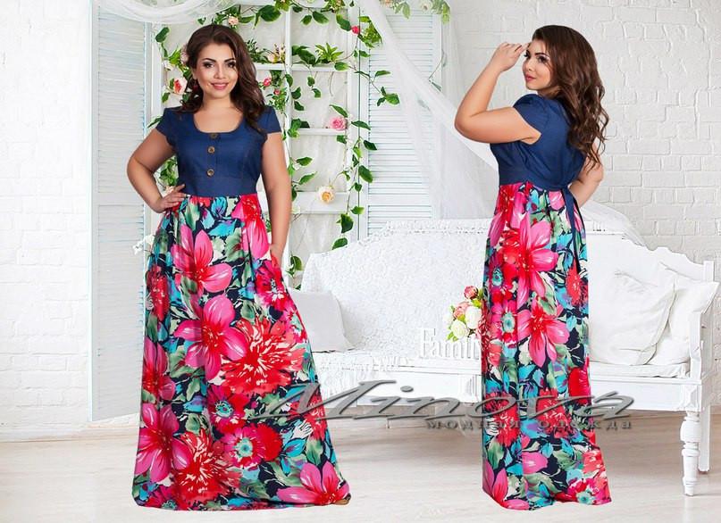bf9d71d2ed2c Платье женское в пол верх джинс низ штапель размеры 50,52,54,56 ...
