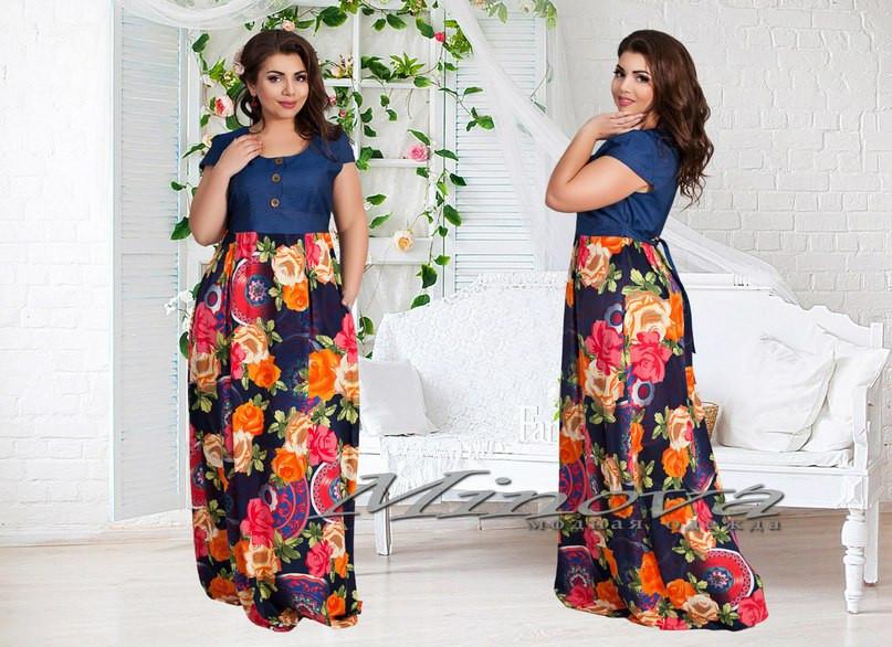 Платье джинса+штапель