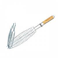 Решетка для рыбы 36*12*2 см с деревянной ручкой СКАУТ