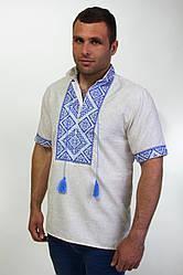 Вышитая мужская сорочка на лене с синем орнаментом