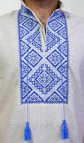 Вышитая мужская сорочка на лене с синем орнаментом , фото 2