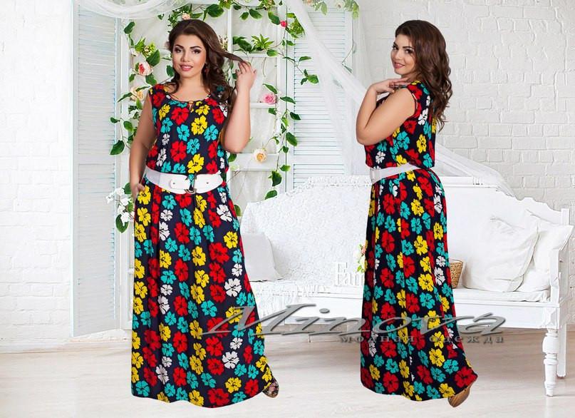 67e59eab746 Длинное летнее платье без рукав турецкий штапель в цветы Размеры 50 ...