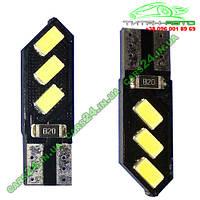 Лампа светодиодная 12V T10 W5W 6SMD 5630 ICE BLUE (черная плата PCB) (10266)