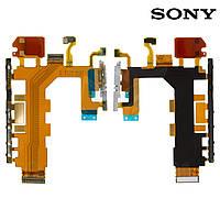 Шлейф для Sony D6503 Xperia Z2, кнопки включения, боковых клавиш, звонка, с компонентами, с микрофо (оригинал)