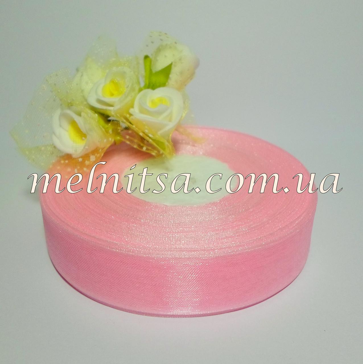 Лента из органзы, 2,5 см, цвет св.розовый №04