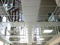 Подвесной потолок из металлических панелей 600х600. Зеркало