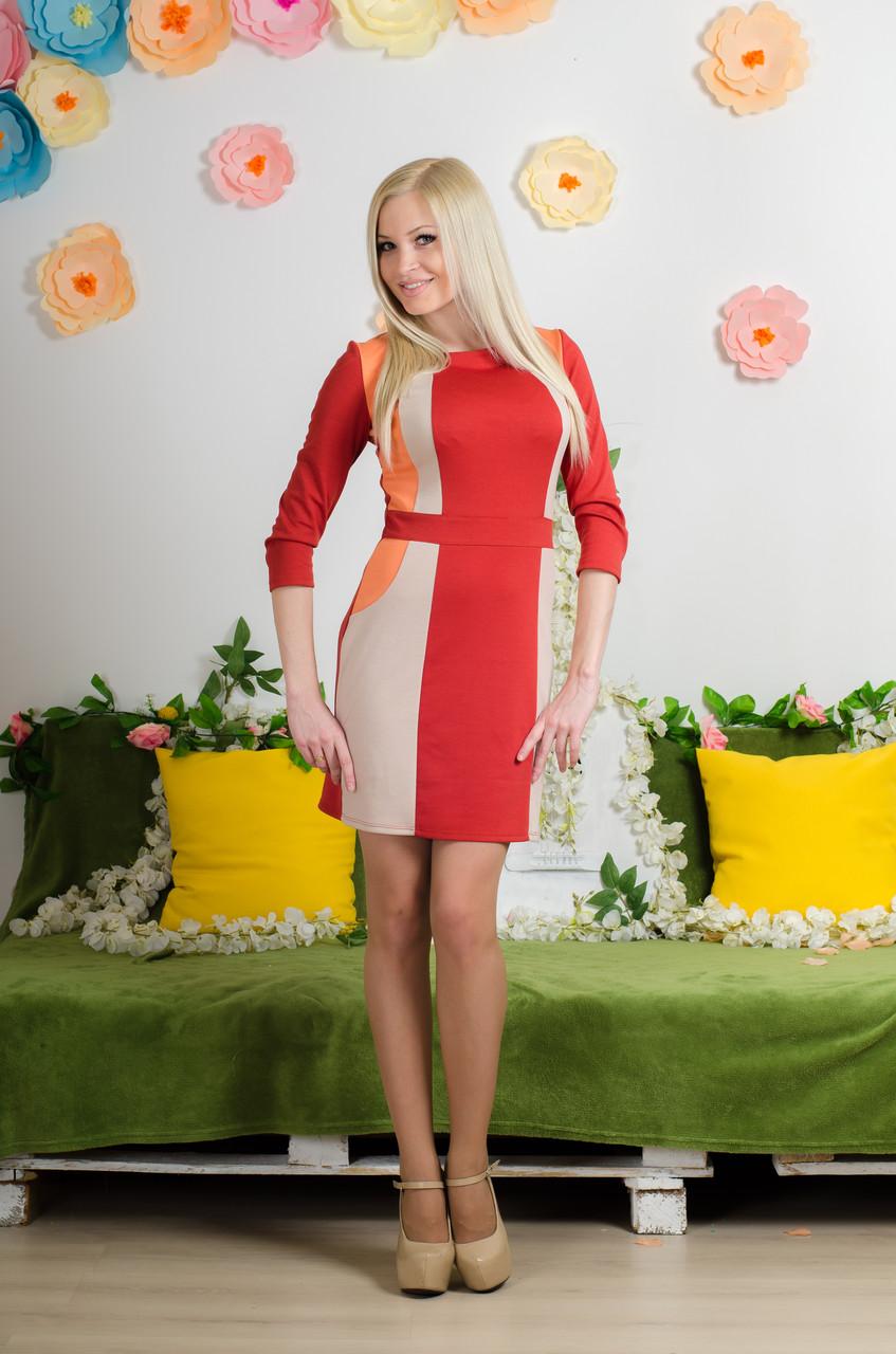 Платье комбинированное терракот