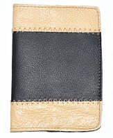Обложка на паспорт, кожа, черный с бежевым 143_28a9