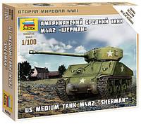 "Сборная модель Zvezda (1:100) Американский танк M4A2 ""Шерман"""