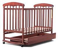 Кроватка детская  НАТАЛКА С ЯЩИКОМ (ОЛЬХА) ТЕМНАЯ 20008