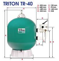 Фильтровальная емкость TRITON TR40, 480 мм, 9 м 3 /час шестиходовой боковой клапан, 72 кг песка