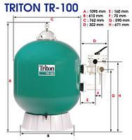 Фильтровальная емкость TRITON TR100, 762 мм, 22 м 3 /час шестиходовой боковой клапан, 280 кг песка