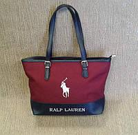 Сумка молодежная тканевая,бордовая с логотипом Ralp Lauren