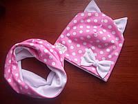 Шапка и хомут кошка розовый в белый горох