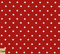 Ткань в горошек красно-белая, № dot-red-2, средне-мелкий размер принта, хлопок 100%
