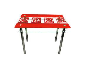 Стол обеденный стеклянный Улитки красные, фото 2