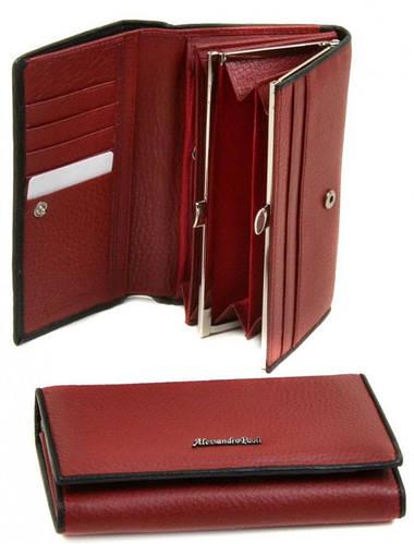 Яркий кожаный женский кошелек Alessandro Paoli WS-2 red красный