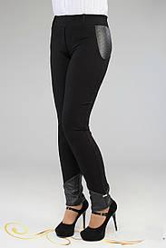 Модные женские брюки с кожаными вставками