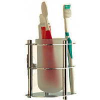 Подставка для зубных щёток, с большими ответстиями и стаканом.