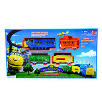 ZY Железная дорога 3021 Chuggington, паровоз 20 см, вагоны 3 шт, музыка, звук паровоза, свет, 14 деталей, на б