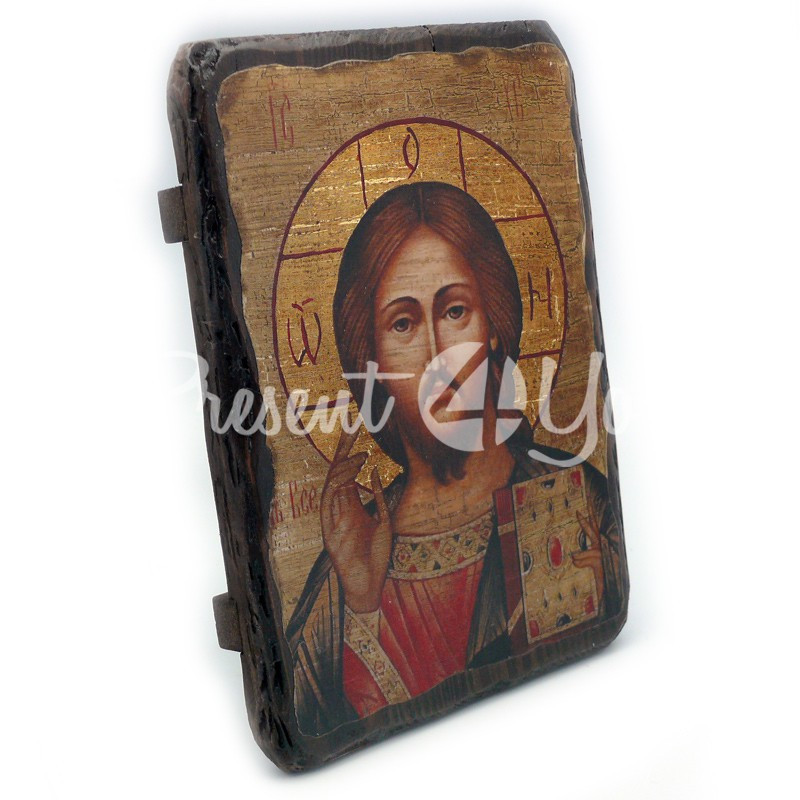 Деревянная икона Христос Спаситель, 17х23 см.