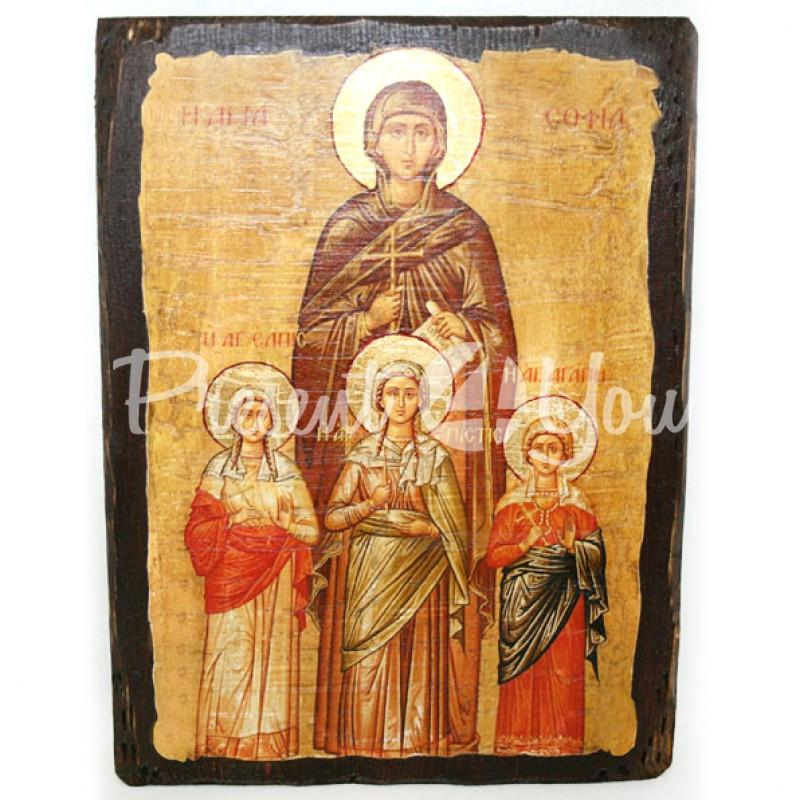 Деревянная икона Вера, Надежда, Любовь и мать их София, 17х23 см.