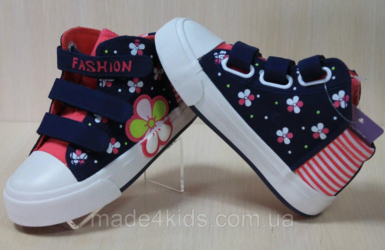 ff1957a64977 Детские высокие кеды на девочку, стильная текстильная обувь, высокие кеды,  тм